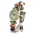 Women's Roman Numerals Bracelet Style PU Band Analog Quartz Wrist Watch - Bronze + Brown (1 X 377)