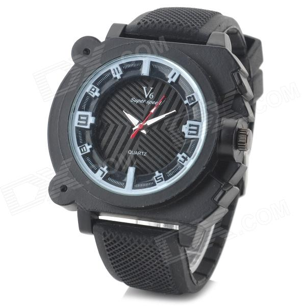 V6 v0191 Men's Silicone Band Analog Quartz Wrist Sport Watch - Black + White (1 x 626)