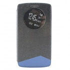Protective PU + TPU Flip Open Case w/ Visual Window for LG G3 - Black + Blue