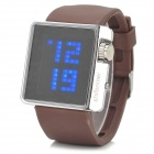 Shifenmei Silicone Band Digital Blue LED Wrist Watch - Brown + Silver (1 x CR2032)