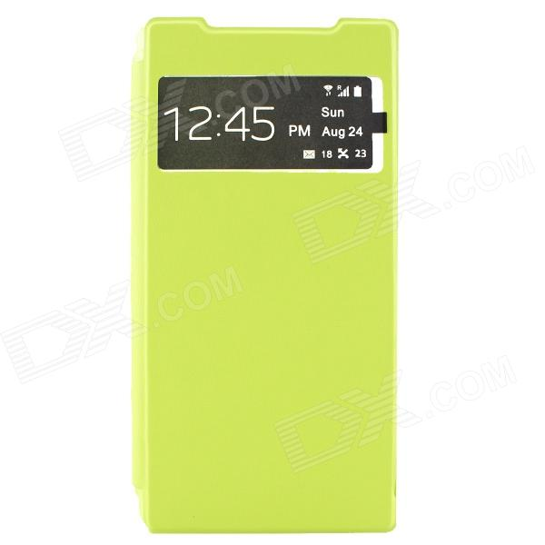 Stylish Flip Open PC + PU Case w/ Display Windown for Sony Xperia Z2 - Fluorescent Green