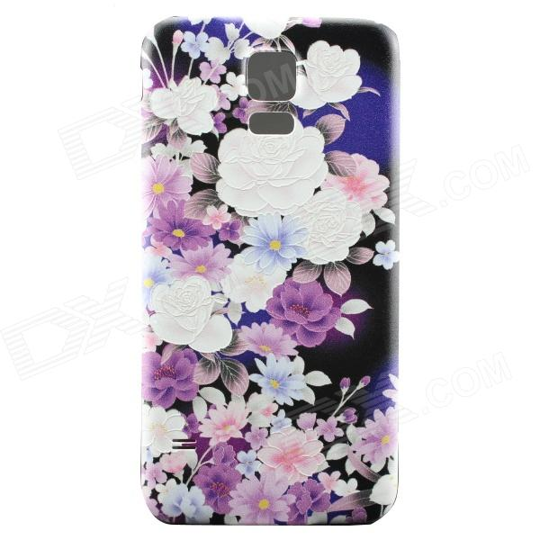 Embossment Flowers  Frame Back Casefor Samsung Galaxy S5 - Purple
