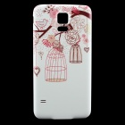 Birdcage Pattern Frame Back Back Case for Samsung Galaxy S5 - White + Pink