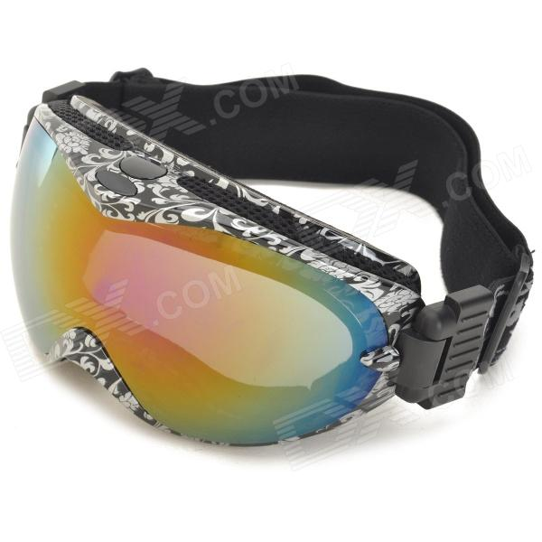 PC Lens TPU Frame Safety Goggles Glasses with Elastic Strap - White + Black