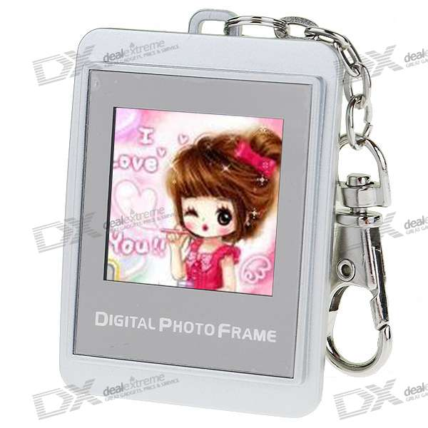 "1.5"" LCD Rechargeable Digital USB Photo Frame Keychain with 8M Memory for 140 Photos (Silver)"