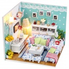 DIY Creative Cute Wooden Living Room Model Toy - White + Blue + Multi-Colored