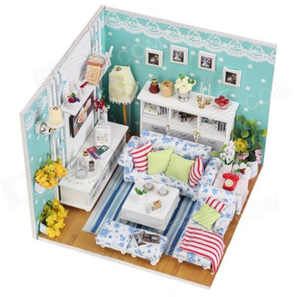 DIY Creative Cute Wooden Living Room Model Toy - White + Blue + Multi ...