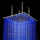 "YDL-BD006-1 20"" Temperature Control 40-LED RGB Light 304 Stainless Steel Square Shower Head - Silver"