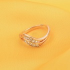 KCCHSTAR Gold Plating Rhinestone Studded Ring - Golden (US Size 8)