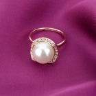 KCCHSTAR dorure Pearl + Rhinestone clouté bague - or + blanc (US taille 8)