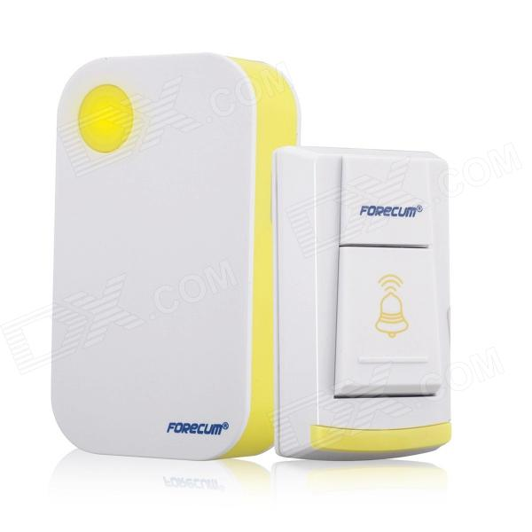 Forecum 4 Water-resistant Wireless Remote Control Doorbell - White + Yellow