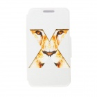 Kinston Tiger Eye Pattern Flip Open PU Leather + Plastic Case w/ Stand for 4.3'' Motorala Moto X
