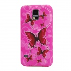 Elonbo J10M18 Butterfly Pattern TPU Back Case for Samsung Galaxy S5 - Deep Pink + Red