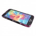 Elonbo J10M19 Flower Pattern TPU Back Case for Samsung Galaxy S5 - Black + Red