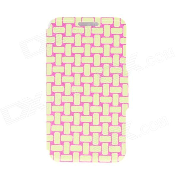 Kinston Knitting Pattern PU Leather + Plastic Flip Open Case w/ Stand for 4.3'' Motorala Moto X kinston flowers