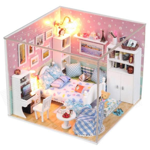 DIY Creative Cute Wooden Bedroom Model Toy - White + Pink ...