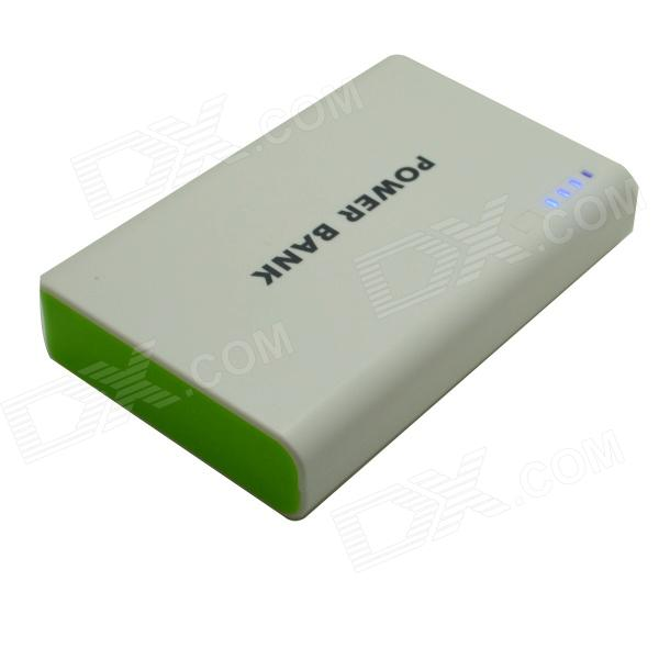 Portable Universal Dual USB 5V 6000mAh Li-ion Battery Power Bank - White + Green odem portable universal 5v 4800mah li ion battery dual usb power bank white blue