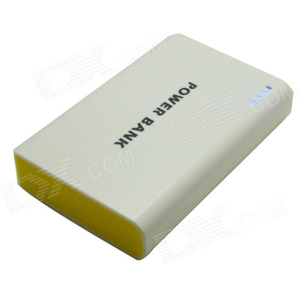 Portable Universal Dula USB 5V 6000mAh Li-ion Battery Power Bank - White + Yellow s what universal portable 5v 2000mah li ion battery power bank white