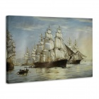 "Iarts DX0721-07 Printing + Hand-painted ""Sailing at Sea"" Oil Painting - White (40 x 50cm)"