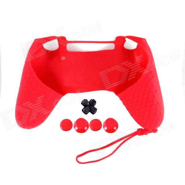 A-M011 Protective Silicone Case + Rocker Cap + Cross + Key Cap for PS4 Controller цена и фото