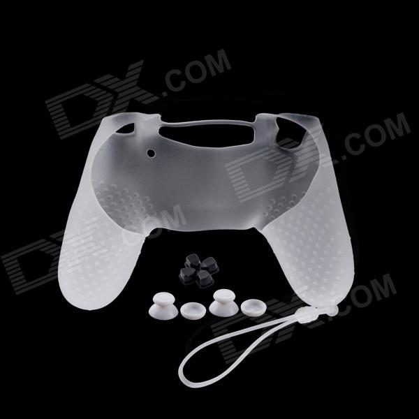 цены  A-M011 Protective Silicone Case + Rocker Cap + Cross Key + Key Cap Set for PS4 Controller - White