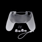 A-M011 Protective Silicone Case + Rocker Cap + Cross Key + Key Cap Set for PS4 Controller - White