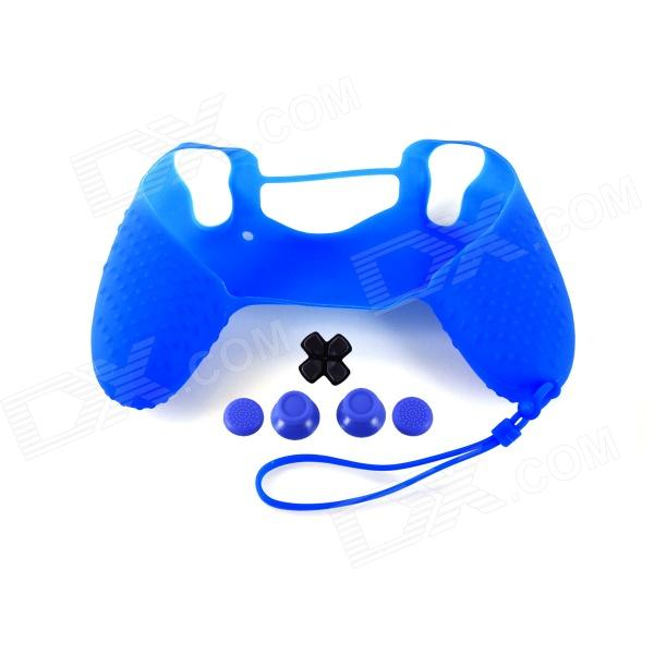 A-M011 Protective Silicone Case + Rocker Cap + Cross Key + Key Cap Set for PS4 Controller - Blue