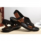 TR-33 Men's Comfortable Leather Sandals - Black + Coffee (Size 41)