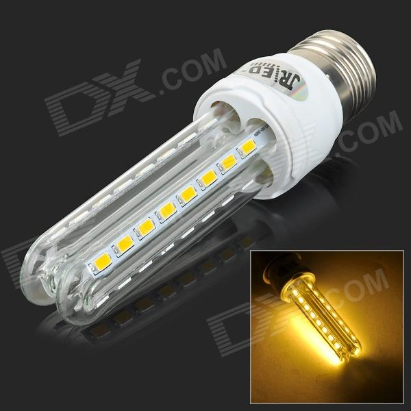 JRLED E27 8W 600lm 3300K 32-SMD 5730 LED Warm White Light Lamp - White + Transparent (AC 100~240V)