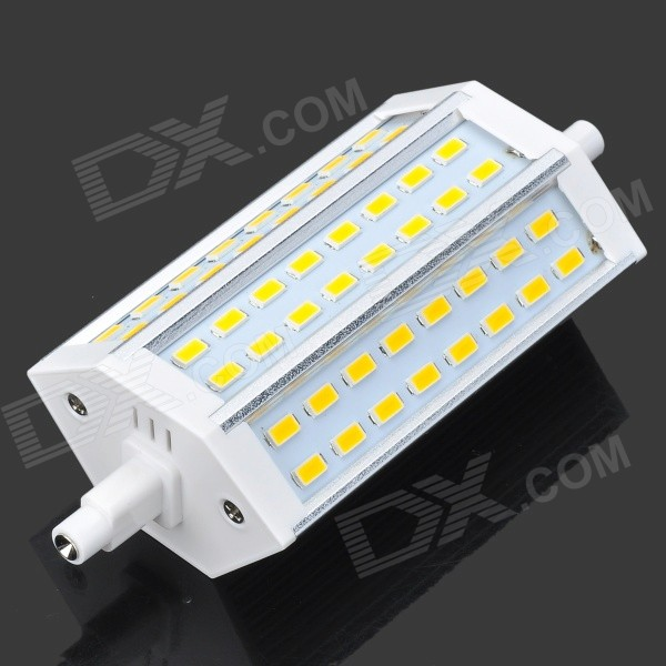 R7S 10W 700lm 3500K 48-SMD 5730 LED Warm White Corn Lamp - White + Silvery Grey (90~265V) e27 10w 950lm 6500k 56 smd 5730 led white corn lamp white silvery grey ac 220 240v