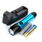 Mini LED 200lm 3-Mode White Light Flashlight - Black + Blue (1 x 14500 / 1 x AA)
