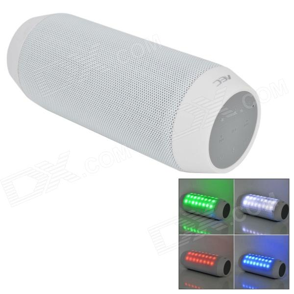 Portable Wireless Bluetooth V3.0 Car Speaker w/ Mic. / FM / Colorful Lights / TF Card Slot - White portable professional 2 4g wireless voice amplifier megaphone booster amplifier speaker wireless microphone fm radio mp3 playing