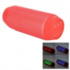 Portable Wireless Bluetooth V3.0 Car Speaker w/ Mic. / FM / Colorful Lights / TF Card Slot - Red