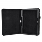 Lichee Pattern Flip-open PU Leather Case w/ Stand for Samsung Galaxy Tab 4 T530 / T531- Black