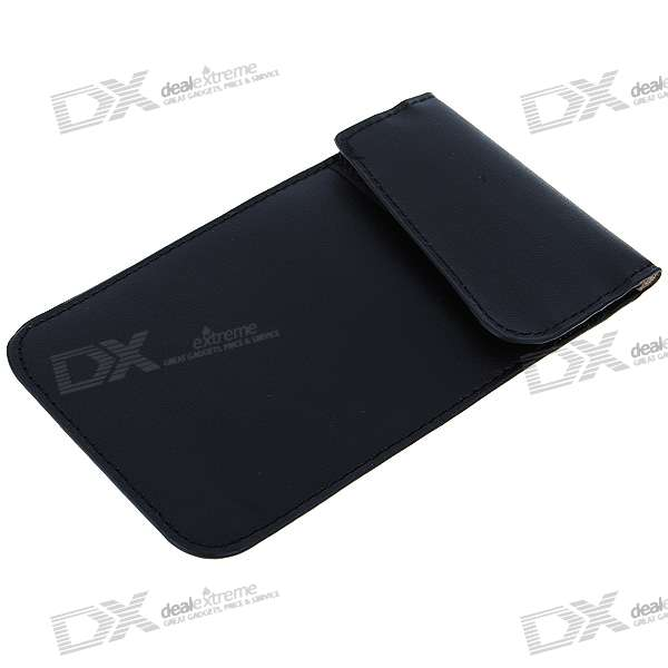 Cell Phone Signal Shield/Block Soft Leather Pouch (Black)