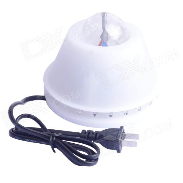 W536-2 8W 24 + 3 LED RGB Light Auto Rotating Stage Lamp - White + Transparent (US Plugs / AC 85~260V)