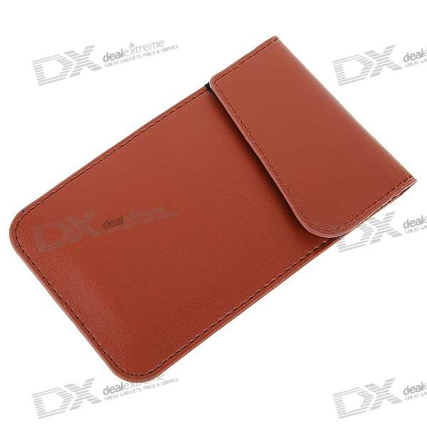 Cell Phone Signal Shield/Block Soft Leather Pouch (Brown)