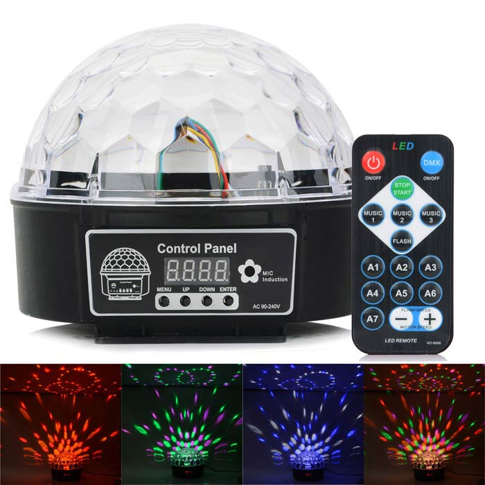 HML QS-607R 20W 160lm 8-LED RGB Crystal Magic Ball Light w/ Remote Control - Black (AC 100~240V)
