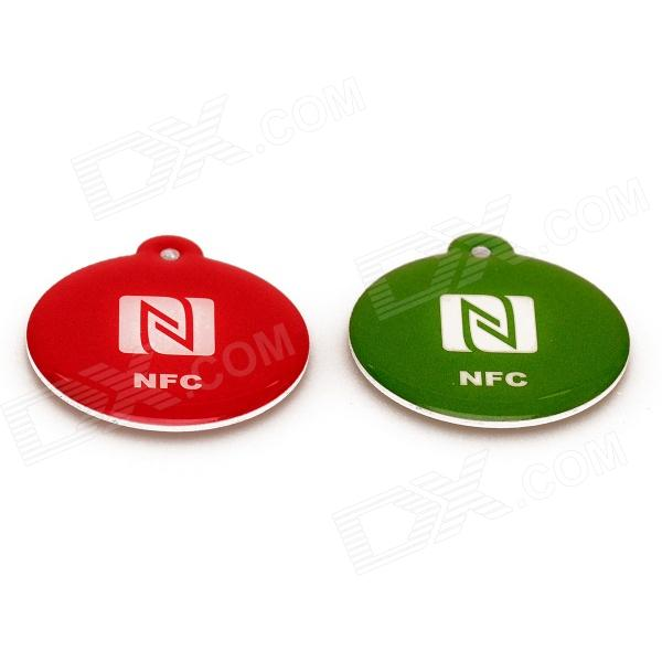 NXP Ntag216 888 Bytes 13.56MHz Smart NFC Tags for Cellphones - Red + Green (2 PCS) 13 56mhz nfc smart tag set for xiaomi meizu mx3 nokia lumia samsung s4 orange black