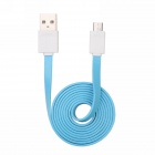 Qisan CD40 Micro USB Male to USB Male Flat Data Charging Cable - Blue (2m)