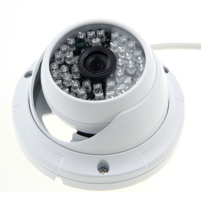 3510W 1/4 CMOS 900TVL 3.6mm Lens CCTV Camera w/ 48-IR-LED - White (PAL) - DXCCTV Cameras<br>Color White Model 3510W Material Aluminum alloy Quantity 1 Piece Image Sensor CMOS Image Sensor Size Others1/4 inch Pixels 900TVL Picture Resolution PAL: 976 (H) x 582 (V) Lens 3.6mm Viewing Angle Others85 ° Video AVI Daytime 8 meters Minimum Illumination 0.1 Lux Electronic Shutter Speed 1/50~1/100000s Night Vision Yes IR-LED Quantity 48 Nigt Vision Distance 30 m SNR &gt;/=48dB Plug Specifications No Packing List 1 x CCTV camera (44cm-cable)<br>