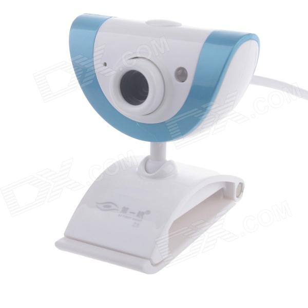 First Sight Z5 8.0MP HD Webcam with Night Vision Light / Mic  - White + Blue