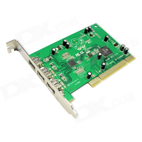 цена на IOCREST IO-PIO8280-3B 3-port 1394B PCI Card TI8280 Chipset - Green
