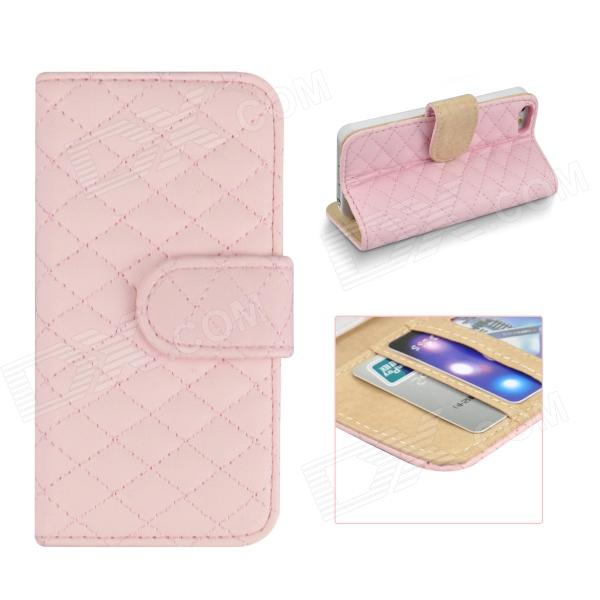 Angibabe Grid Pattern Flip Open PU Leather Case w/ Card Slot  for IPHONE 5 / 5S - Pink angibabe snake skin pattern flip open pu leather case with card slots for iphone 6 4 7 pink