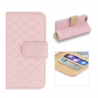 Angibabe Grid Pattern Flip Open PU Leather Case w/ Card Slot  for IPHONE 5 / 5S - Pink