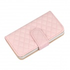 Angibabe Grid Pattern PU Case w/ Card Slot for IPHONE 5 / 5S - Pink