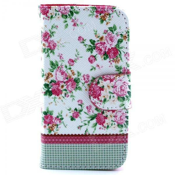 Flower Pattern PU Leather Flip Open Case w/ Stand / Card Slot for IPHONE 4 / 4S - Multi-Color new style pu leather flower pattern