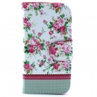 Flower Pattern PU Leather Flip Open Case w/ Stand / Card Slot for IPHONE 4 / 4S - Multi-Color