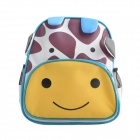 Children's Giraffe Cartoon Animal Backpack School Bag - Yellow + Coffee + Blue