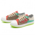 Women's Casual Canvas Front Shoelace Shoes - Red + Beige + Multi-Colored (EUR Size 38)